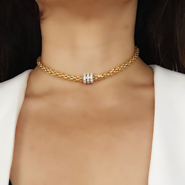 Roda Magnetic Choker- Yellow Gold Plated on Sterling Silver
