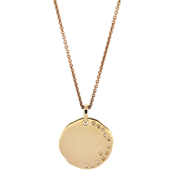 Disc Pendant on Chain. Write-Your-Own-Message. 14Karat Gold