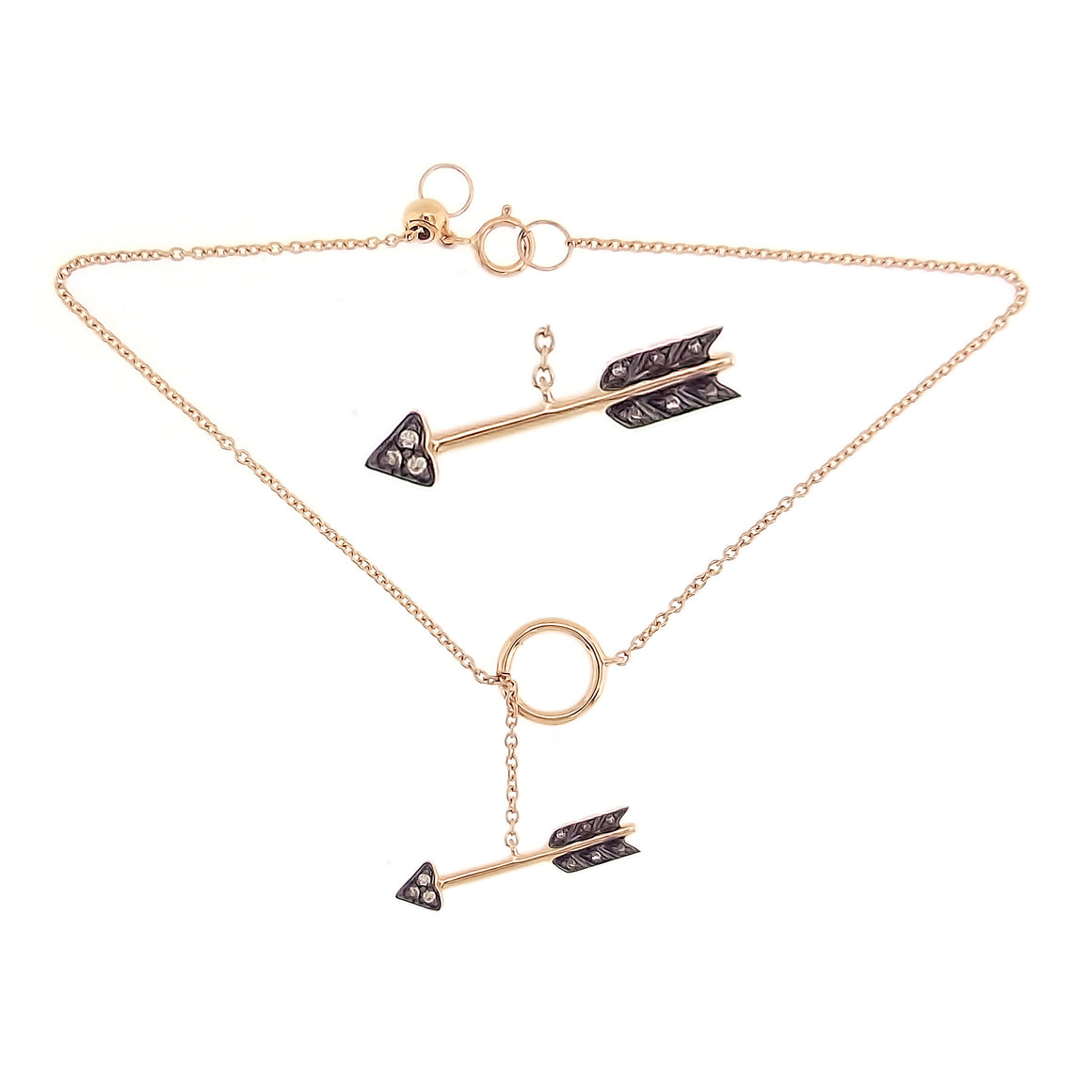 Arrow Bracelet with Brown Diamonds in 18K Rose Gold