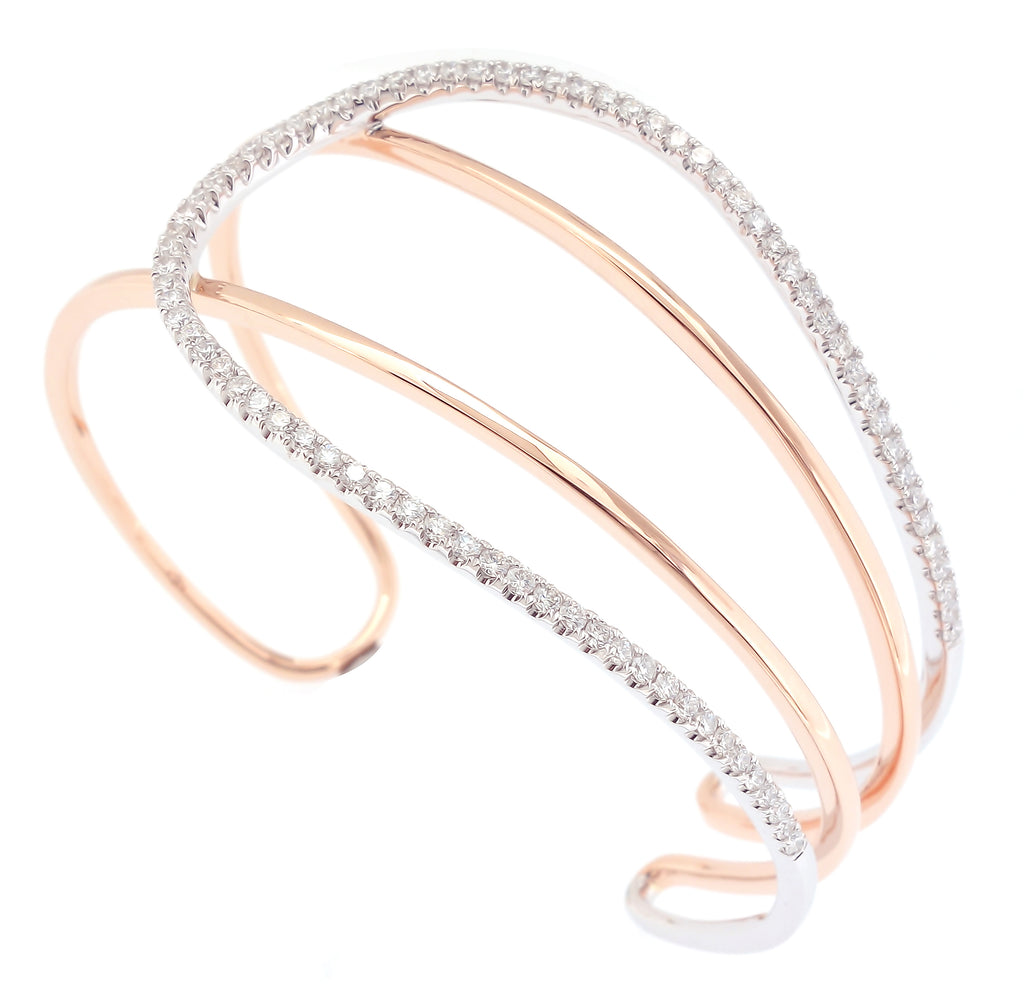 Two Tone Statement Bangle in 18K White and Rose Gold