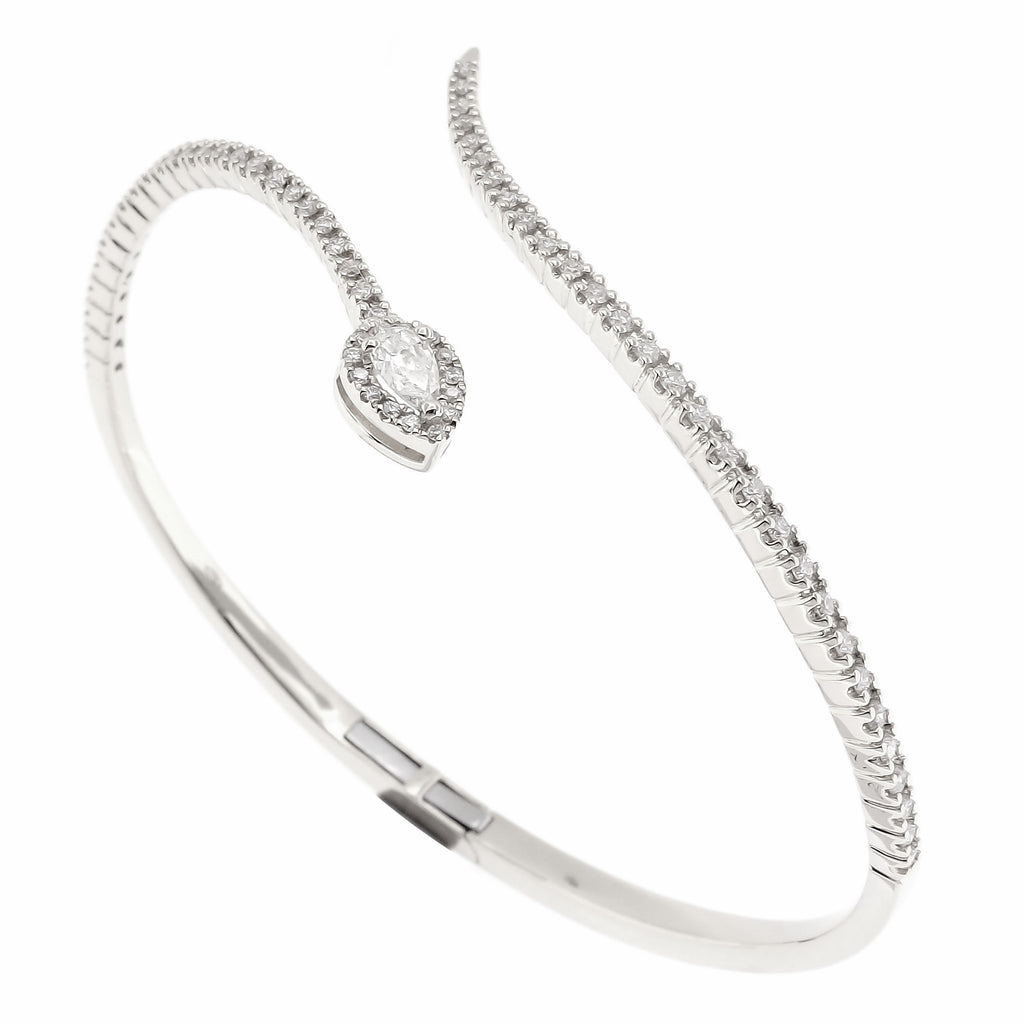 Serpentine Bangle in 18K White Gold