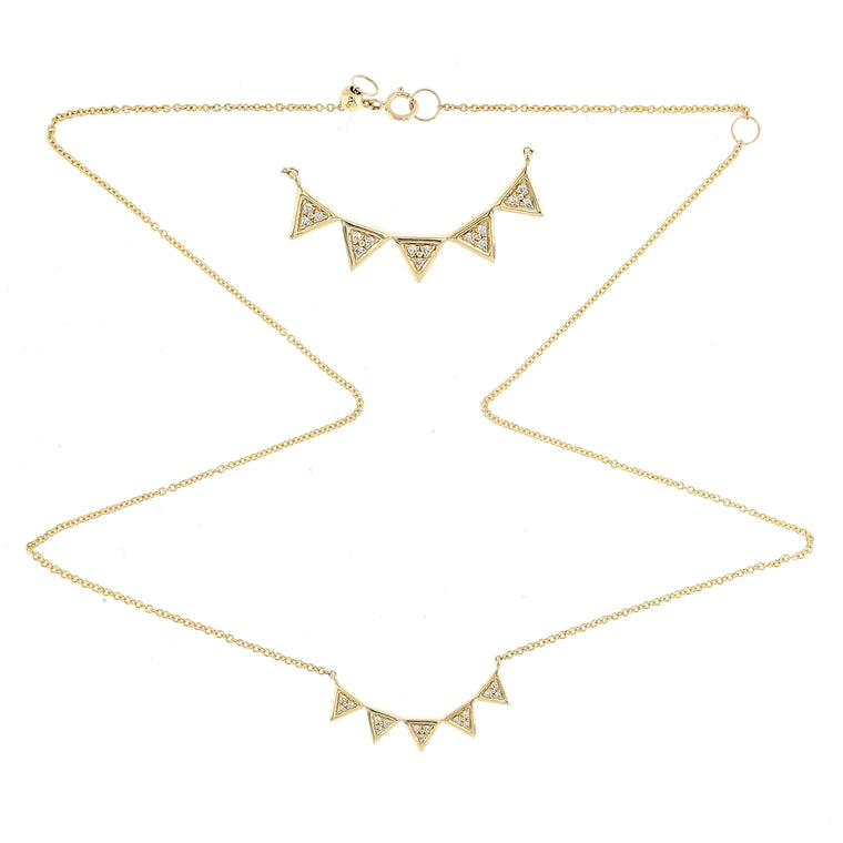 Tiny Triangles Necklace/Choker with Diamonds in 18Karat Yellow Gold