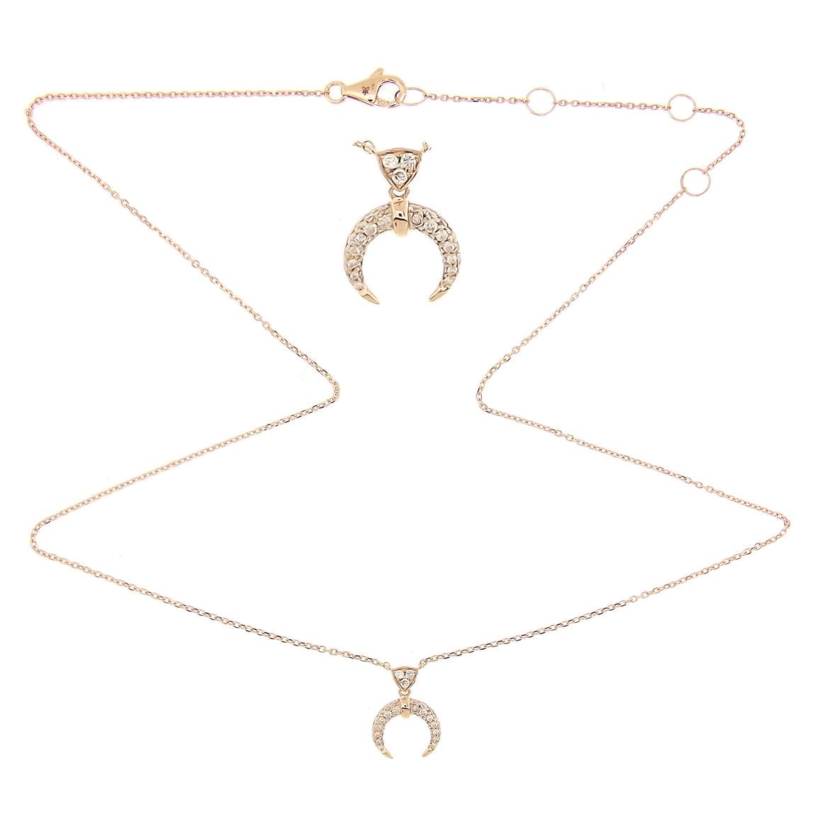 Tiny Half-Moon Necklace/Choker with diamonds in 18Karat Rose Gold