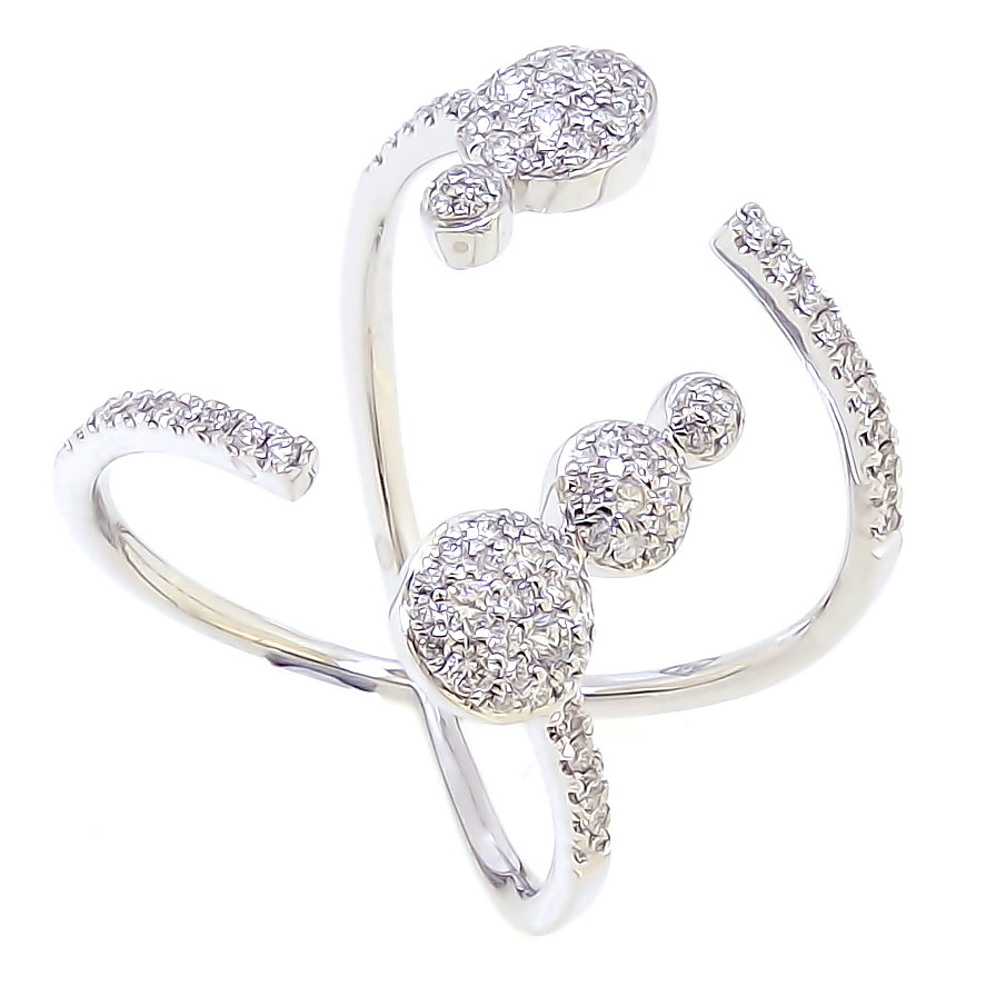 Halley Ring with Round Pave Diamond in 18Karat White Gold