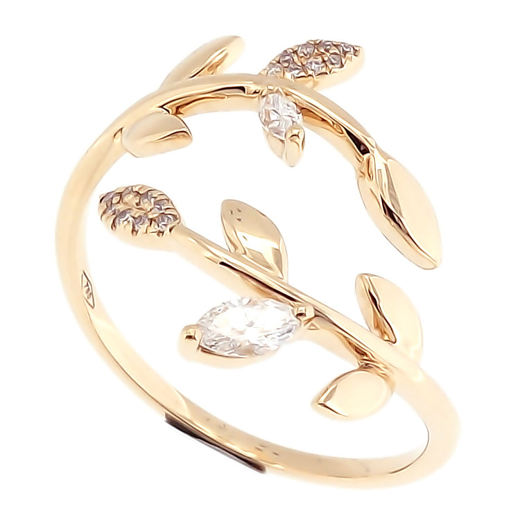 Vine Ring with Marquise Diamonds in 18Karat Yellow Gold