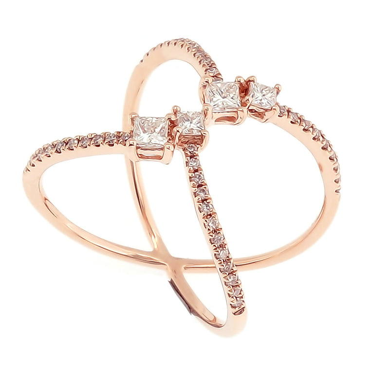 Galaxi Ring with Princess Cut Diamonds in 18Karat Rose Gold