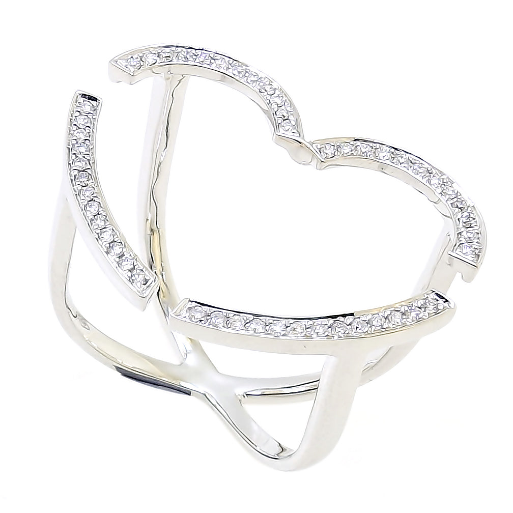 Floating Heart Ring with Diamonds in 18Karat White Gold