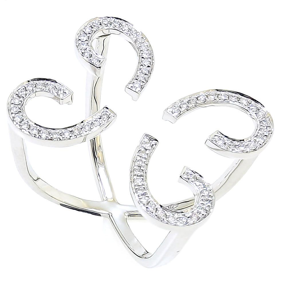 Floating Butterfly Ring with Diamonds in 18Karat White Gold