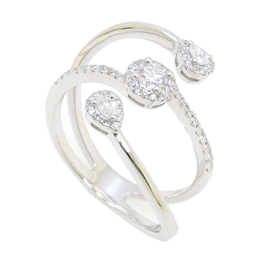 Saros Ring with Round and Pear-Shape Diamonds in 18Karat White Gold