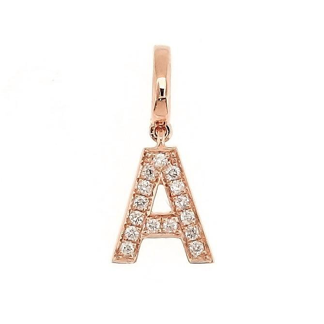 "Alphabet ""A"" Charm/Pendant in 18K Gold with Diamonds. - Kura Jewellery"