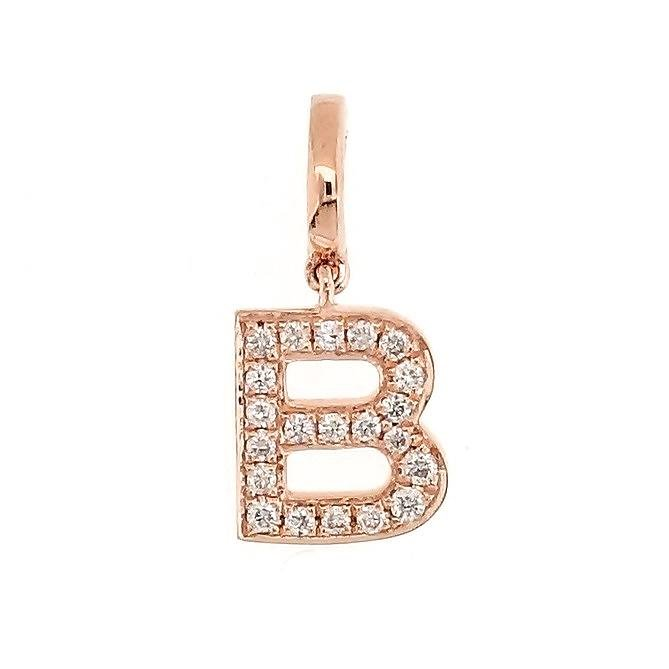 "Alphabet ""B"" Charm/Pendant in 18K Gold with Diamonds. - Kura Jewellery"