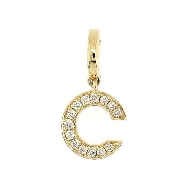 "Alphabet ""C"" Charm/Pendant in 18K Gold with Diamonds. - Kura Jewellery"