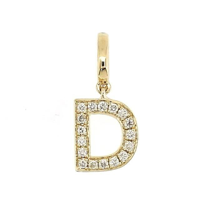 "Alphabet ""D"" Charm/Pendant in 18K Gold with Diamonds. - Kura Jewellery"