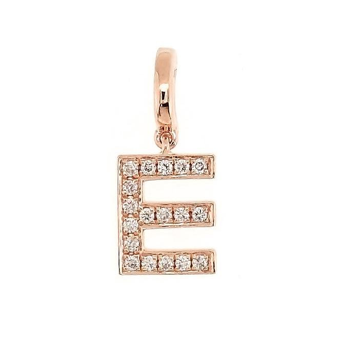 "Alphabet ""E"" Charm/Pendant in 18K Gold with Diamonds. - Kura Jewellery"