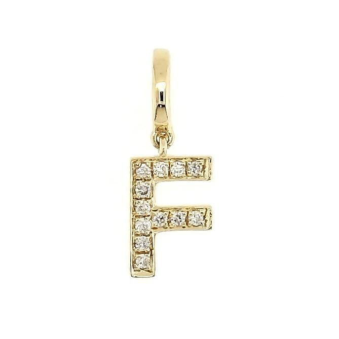 "Alphabet ""F"" Charm/Pendant in 18K Gold with Diamonds. - Kura Jewellery"
