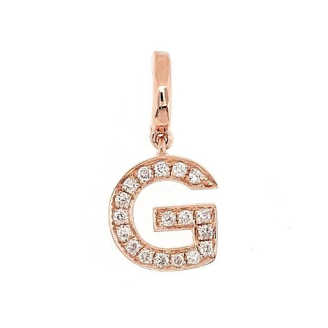 "Alphabet ""G"" Charm/Pendant in 18K Gold with Diamonds. - Kura Jewellery"
