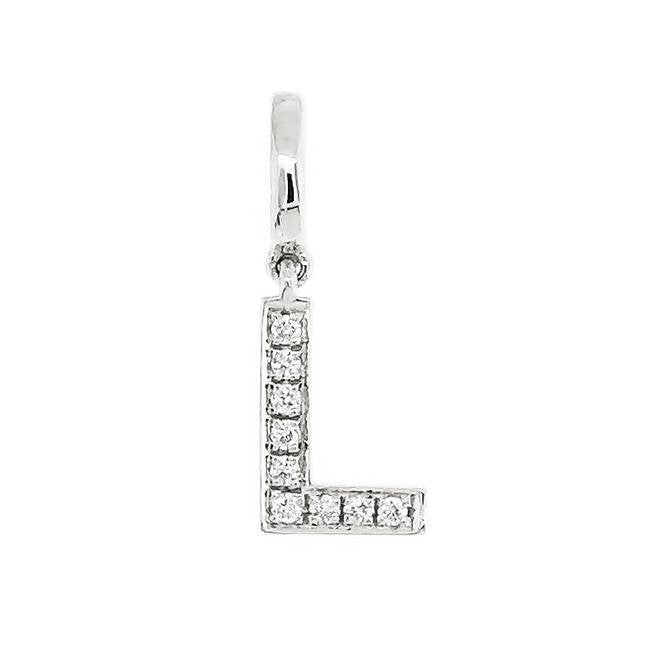"Alphabet ""L"" Charm/Pendant in 18K Gold with Diamonds. - Kura Jewellery"