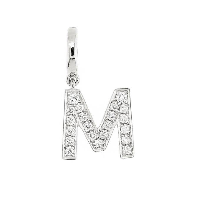 "Alphabet ""M"" Charm/Pendant in 18K Gold with Diamonds. - Kura Jewellery"