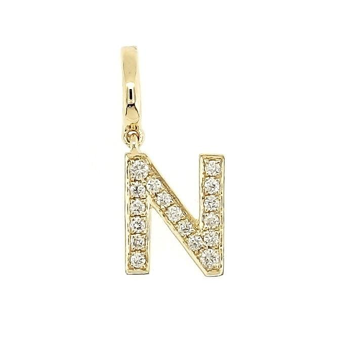 "Alphabet ""N"" Charm/Pendant in 18K Gold with Diamonds. - Kura Jewellery"