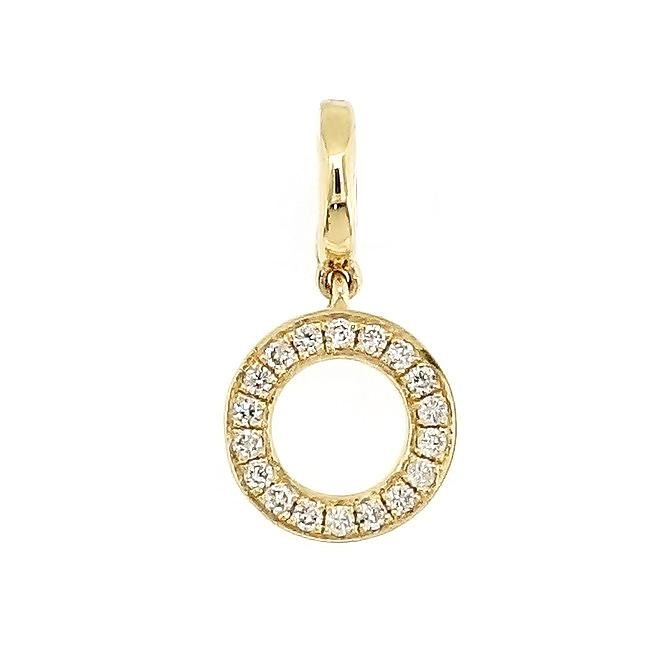 "Alphabet ""O"" Charm/Pendant in 18K Gold with Diamonds. - Kura Jewellery"