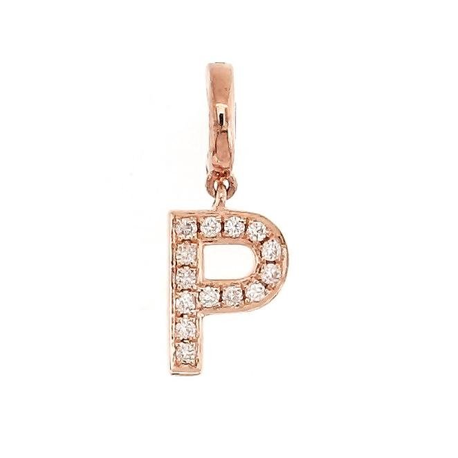 "Alphabet ""P"" Charm/Pendant in 18K Gold with Diamonds. - Kura Jewellery"