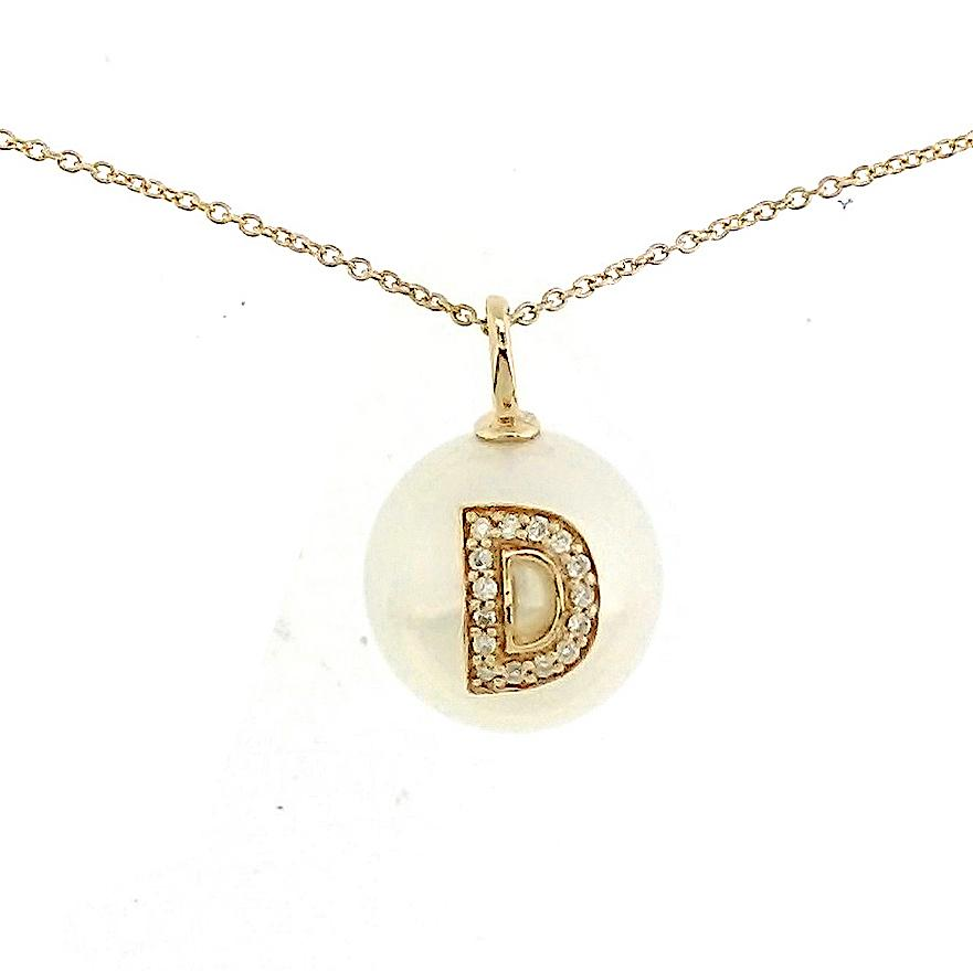 Alphabet Pearl Necklace diamonds studded 'D' in 18 Karat Solid Gold - Kura Jewellery