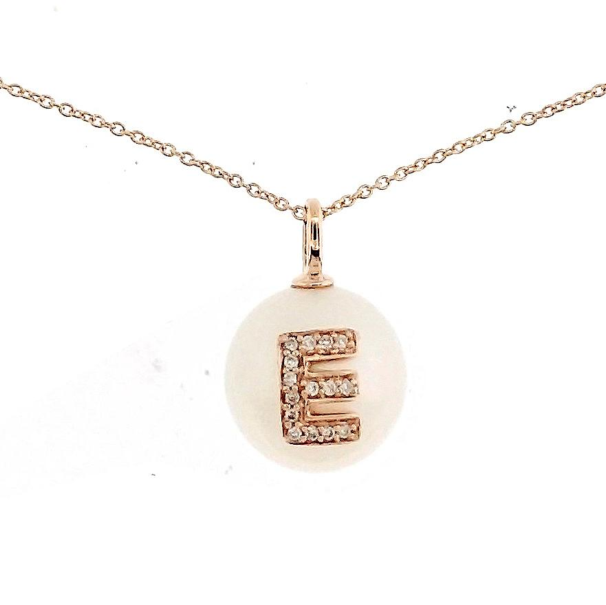 Alphabet Pearl Necklace diamonds studded 'E' in 18 Karat Solid Gold - Kura Jewellery