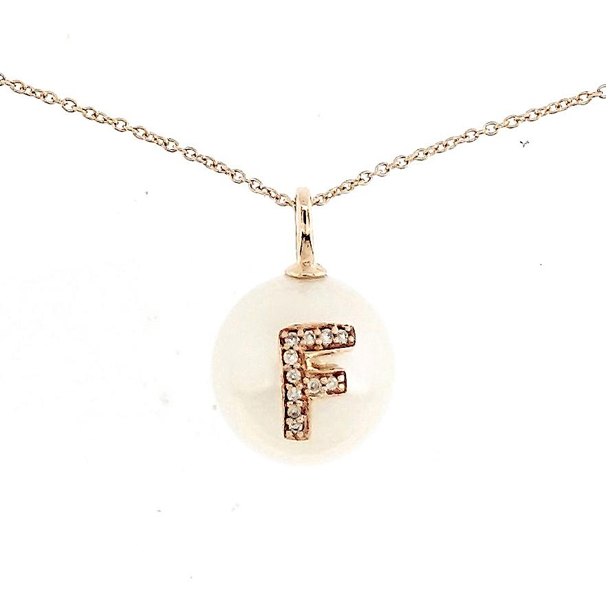 Alphabet Pearl Necklace diamonds studded 'F' in 18 Karat Solid Gold - Kura Jewellery