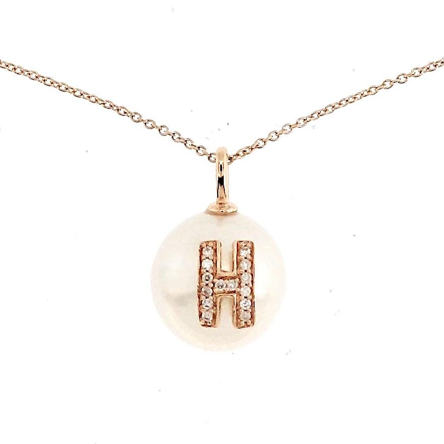 Alphabet Pearl Necklace diamonds studded 'H' in 18 Karat Solid Gold - Kura Jewellery
