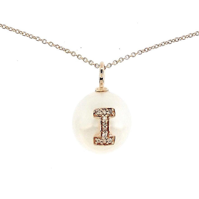 Alphabet Pearl Necklace diamonds studded 'I' in 18 Karat Solid Gold - Kura Jewellery