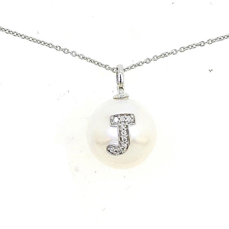 Alphabet Pearl Necklace diamonds studded 'J' in 18 Karat Solid Gold - Kura Jewellery