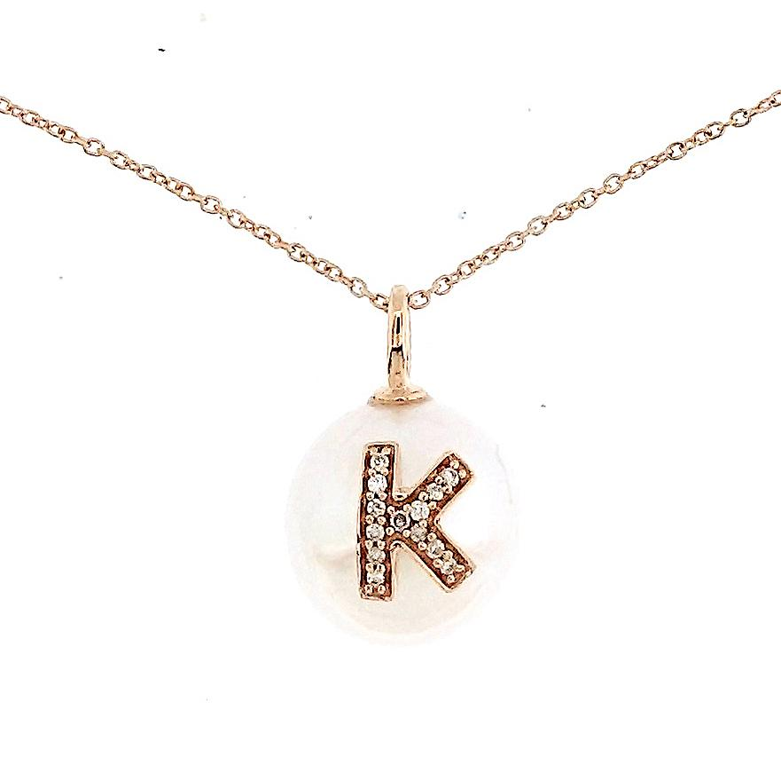 Alphabet Pearl Necklace diamonds studded 'K' in 18 Karat Solid Gold - Kura Jewellery