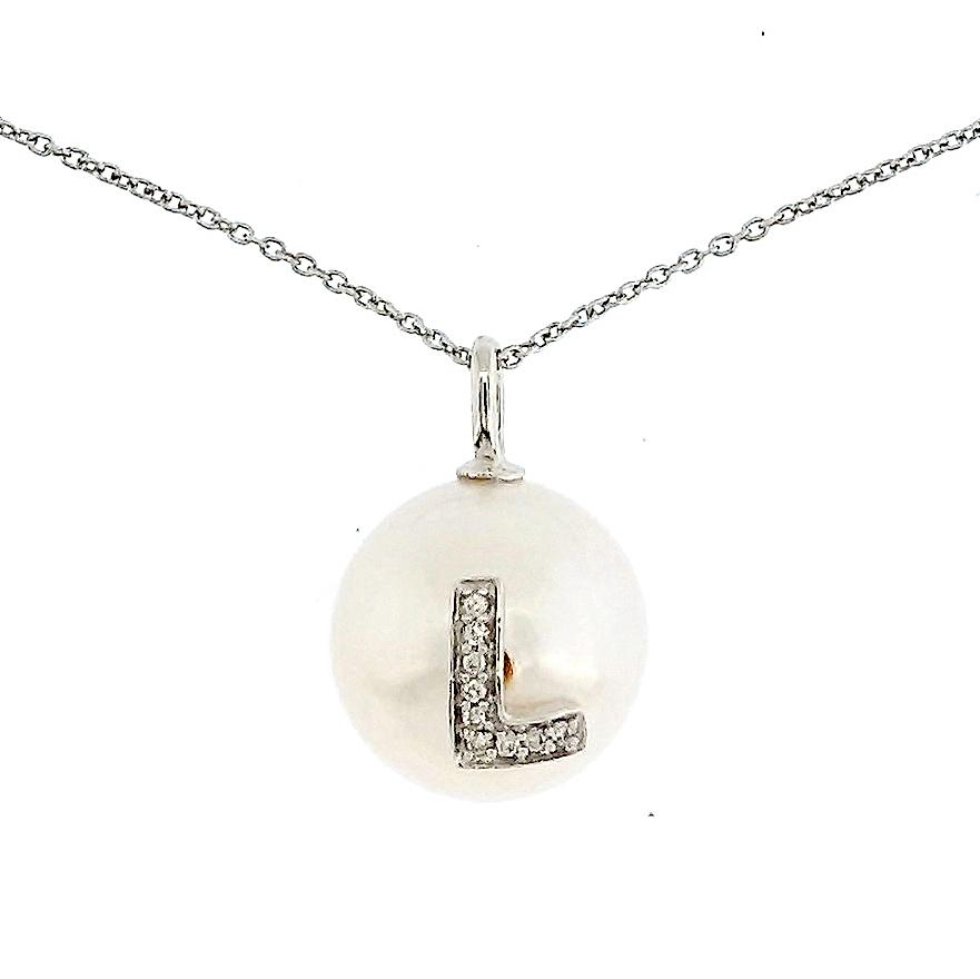 Alphabet Pearl Necklace diamonds studded 'L' in 18 Karat Solid Gold - Kura Jewellery
