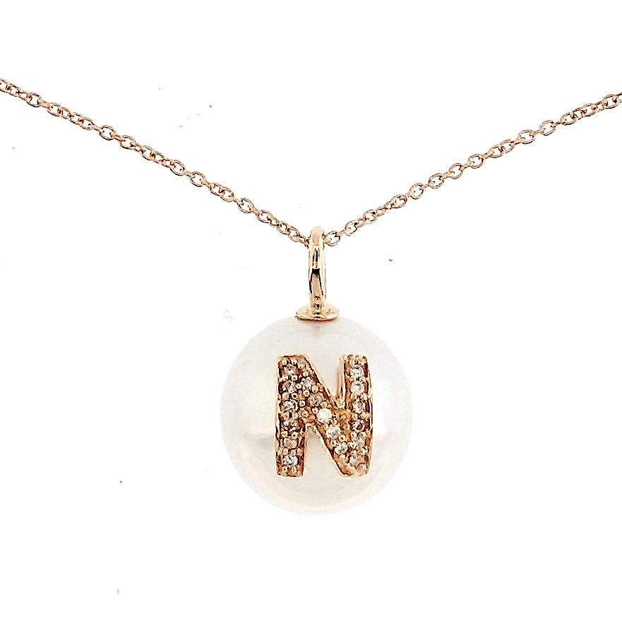 Alphabet Pearl Necklace diamonds studded 'N' in 18 Karat Solid Gold - Kura Jewellery