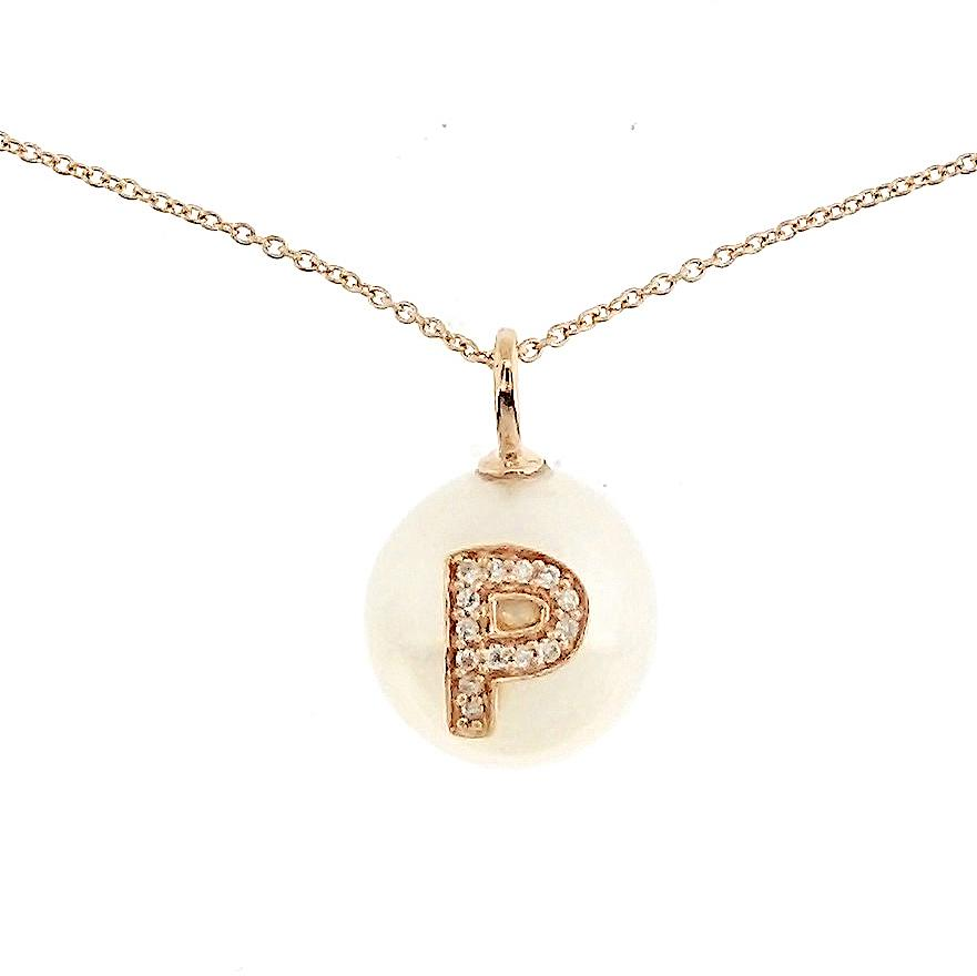 Alphabet Pearl Necklace diamonds studded 'P' in 18K Solid Gold - Kura Jewellery