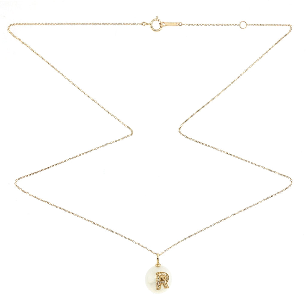 Alphabet Pearl Necklace diamonds studded 'R' in 18K Solid Gold - Kura Jewellery