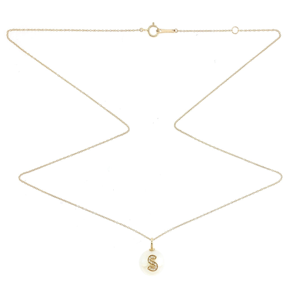 Alphabet Pearl Necklace diamonds studded 'S' in 18K Solid Gold - Kura Jewellery