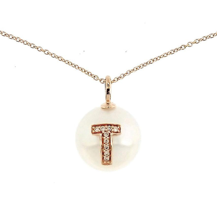 Alphabet Pearl Necklace diamonds studded 'T' in 18K Solid Gold - Kura Jewellery