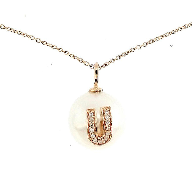 Alphabet Pearl Necklace diamonds studded 'U' in 18K Solid Gold - Kura Jewellery