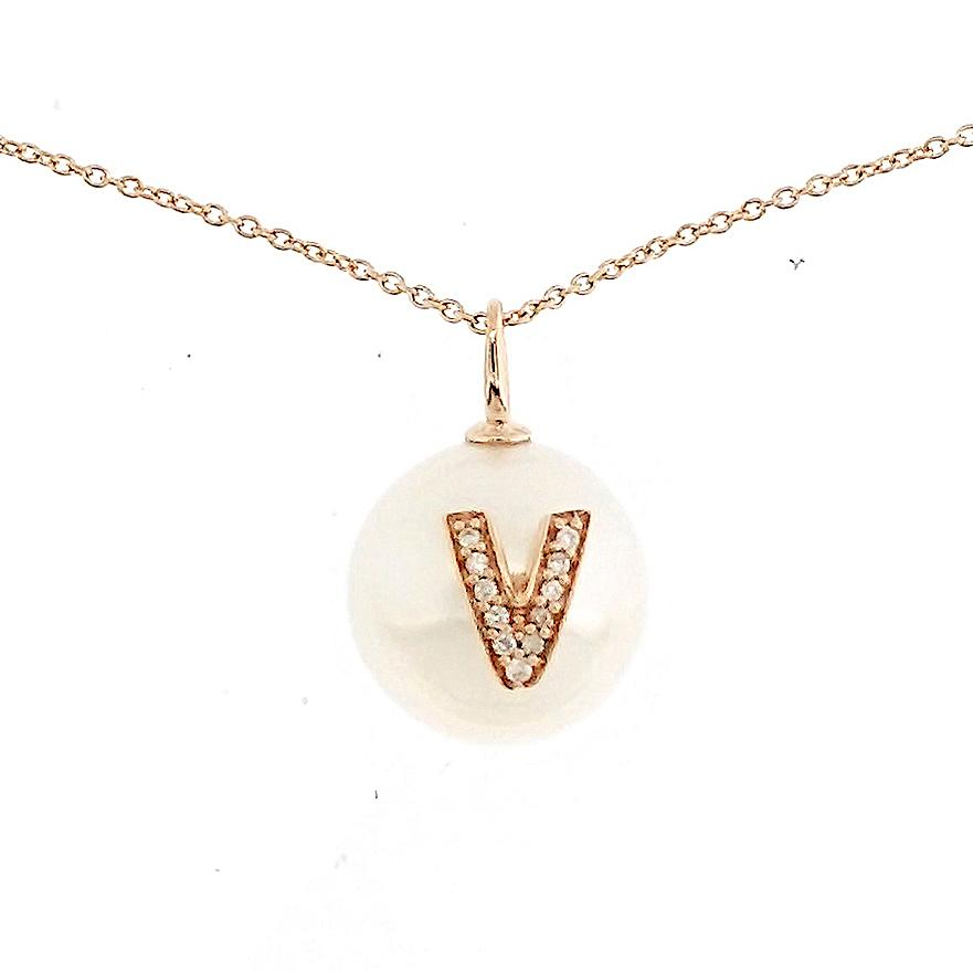 Alphabet Pearl Necklace diamonds studded 'V' in 18K Solid Gold - Kura Jewellery