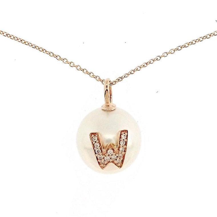 Alphabet Pearl Necklace diamonds studded 'W' in 18K Solid Gold - Kura Jewellery