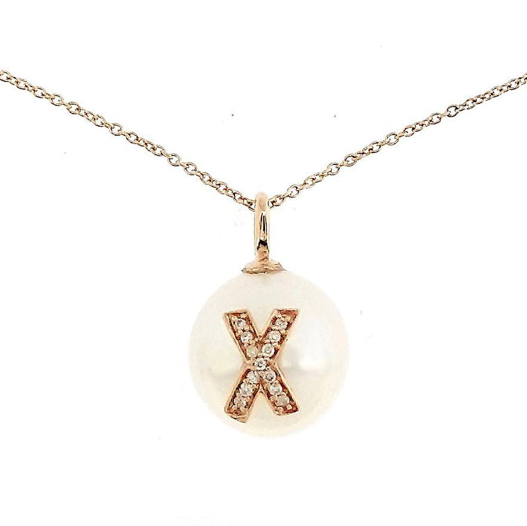 Alphabet Pearl Necklace diamonds studded 'X' in 18K Solid Gold - Kura Jewellery