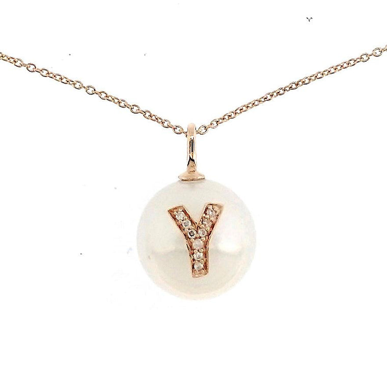 Alphabet Pearl Necklace diamonds studded 'Y' in 18K Solid Gold - Kura Jewellery