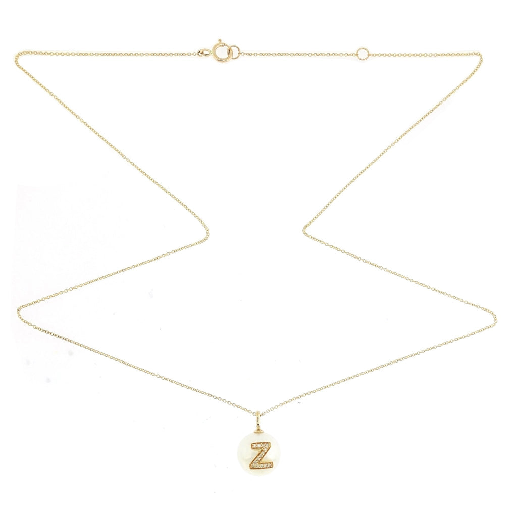 Alphabet Pearl Necklace diamonds studded 'Z' in 18K Solid Gold - Kura Jewellery