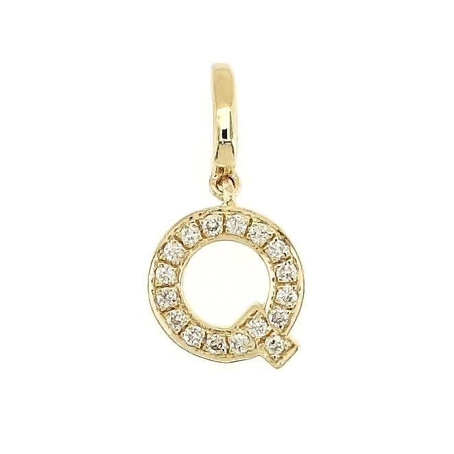 "Alphabet ""Q"" Charm/Pendant in 18K Gold with Diamonds. - Kura Jewellery"