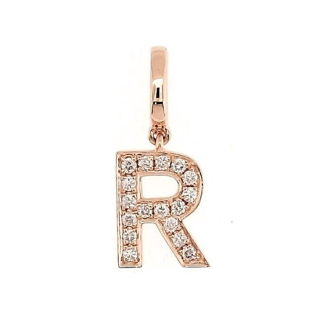 "Alphabet ""R"" Charm/Pendant in 18K Gold with Diamonds. - Kura Jewellery"