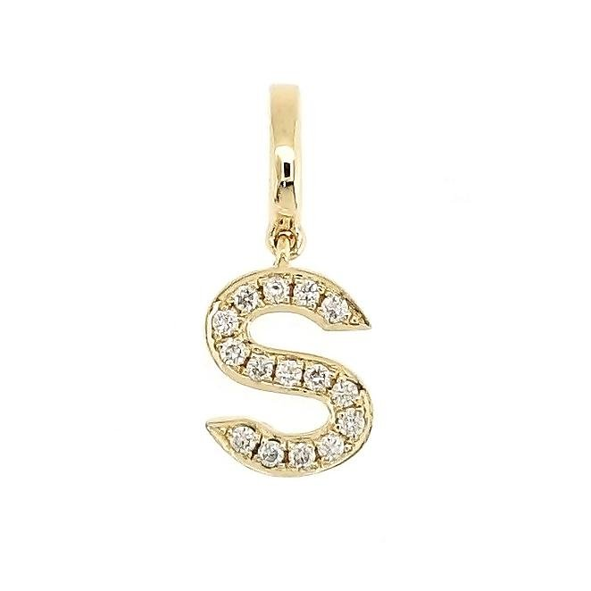 "Alphabet ""S"" Charm/Pendant in 18K Gold with Diamonds. - Kura Jewellery"