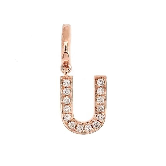 "Alphabet ""U"" Charm/Pendant in 18K Gold with Diamonds. - Kura Jewellery"