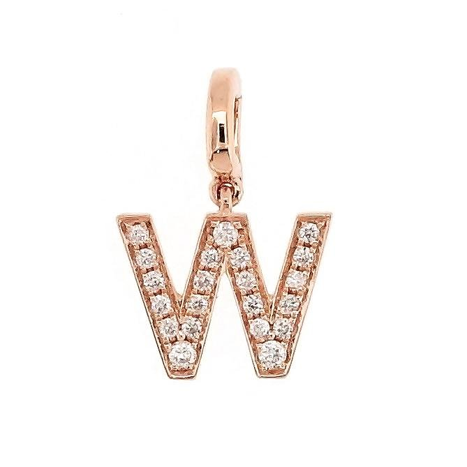 "Alphabet ""W"" Charm/Pendant in 18K Gold with Diamonds. - Kura Jewellery"