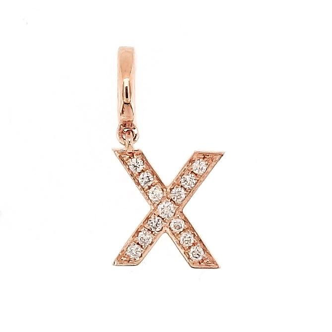 "Alphabet ""X"" Charm/Pendant in 18K Gold with Diamonds. - Kura Jewellery"